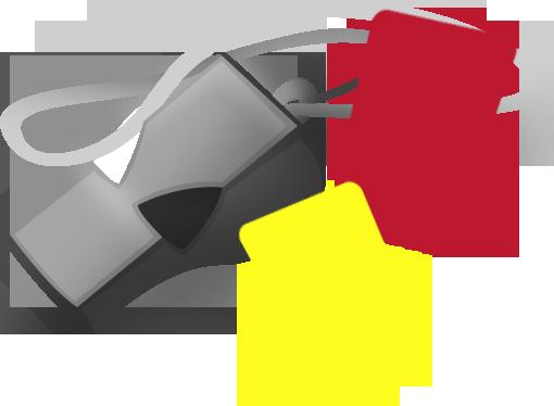 Silbato y tarjetas de de árbitro